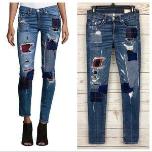 Rag & Bone Harajuku Flannel Patch Skinny Jeans